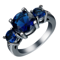 2016 Trendy Women's Rings Black Gold Plated AAA+ Blue CZ Diamond Jewelry Wholesale Engagement Wedding Ring