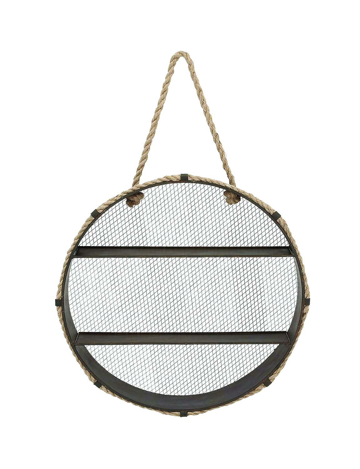 Plutus Brands Unique Metal Wall Rope Round Shelf