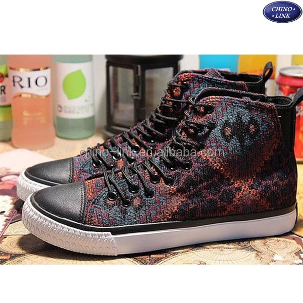 men high neck canvas casual printed vulcanized shoes