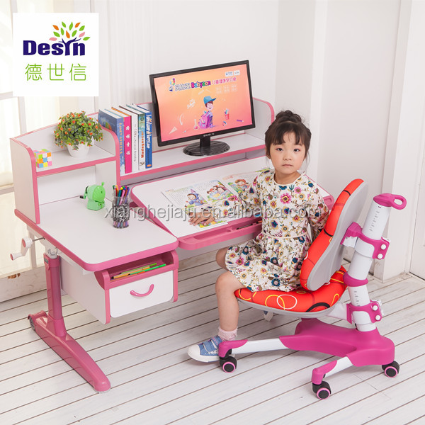 kids use ergonomic adjustable height study desk wooden learning table