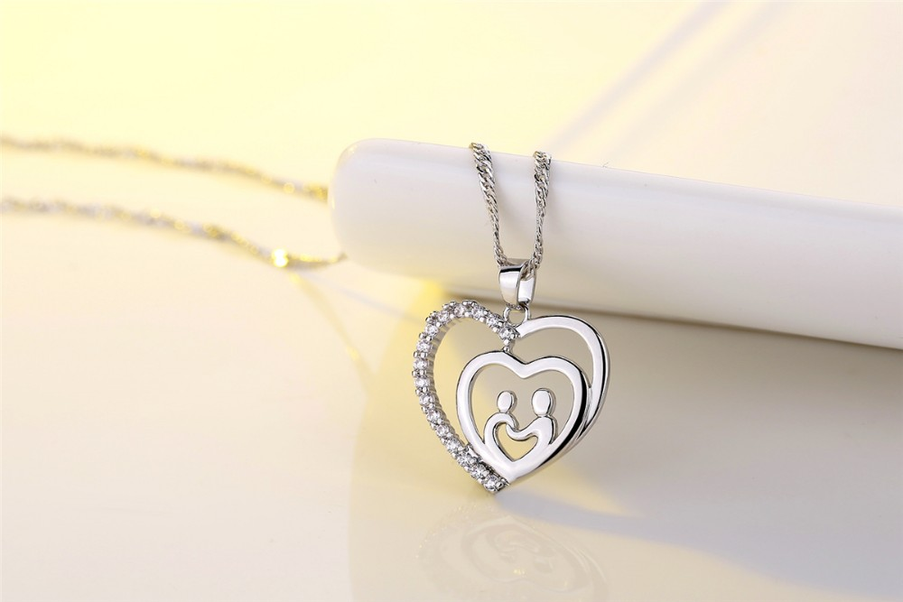 Mother 's Day double Heart Necklace Give a gift to mother gold plated necklace