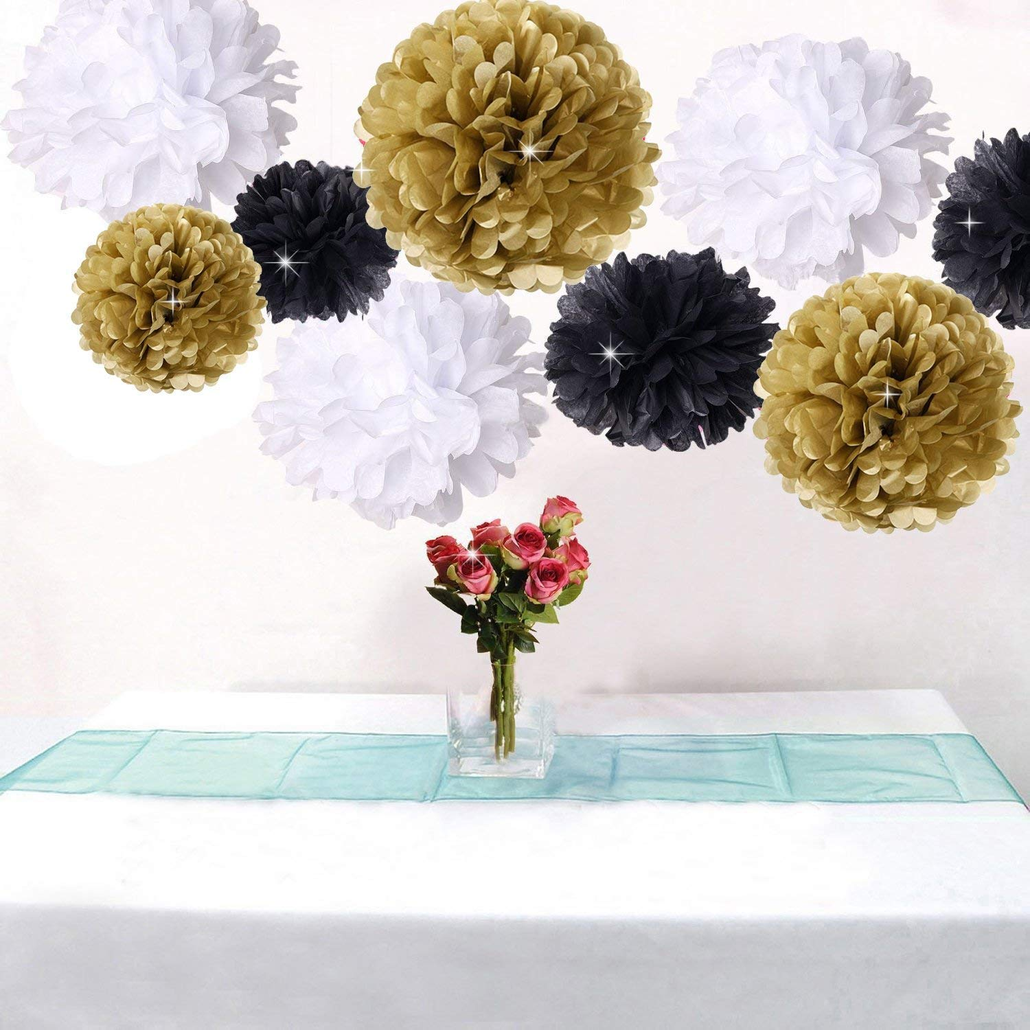 Pack of 18pcs Happy New Year Party Decorations Black White Gold Tissue Paper Pom Pom Paper Flower for Great Decorations/New Year's Eve Party/Birthday Decorations/Bridal Shower Decorations