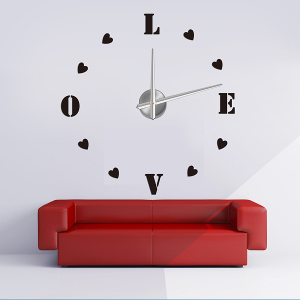 giant wall sticker clock/ 3d wall clock factory/ home decoration