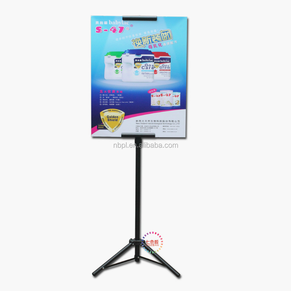 double side steel black easel tripod advertising poster display hanger stand