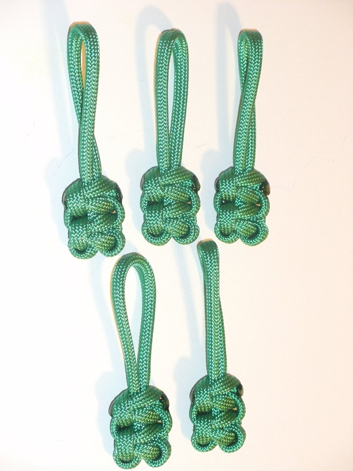 RedVex Paracord Zipper Pulls / Lanyards - Lot of 5 - ~2.5 - Green