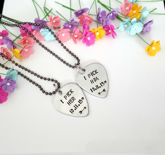Handmade engraved couples cute anniversary necklace gift for girlfriend