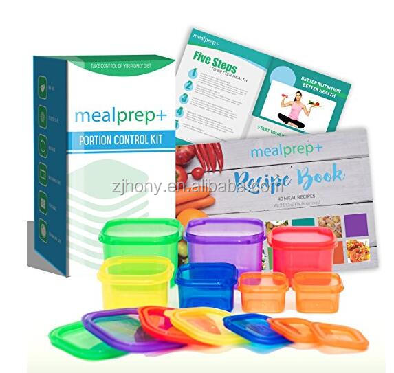 Perfect Portions 7-Piece Labelled Color Coded Dishwasher Microwave Safe Diet Portion Control Containers with Meal Planner and Recipe Guide Book