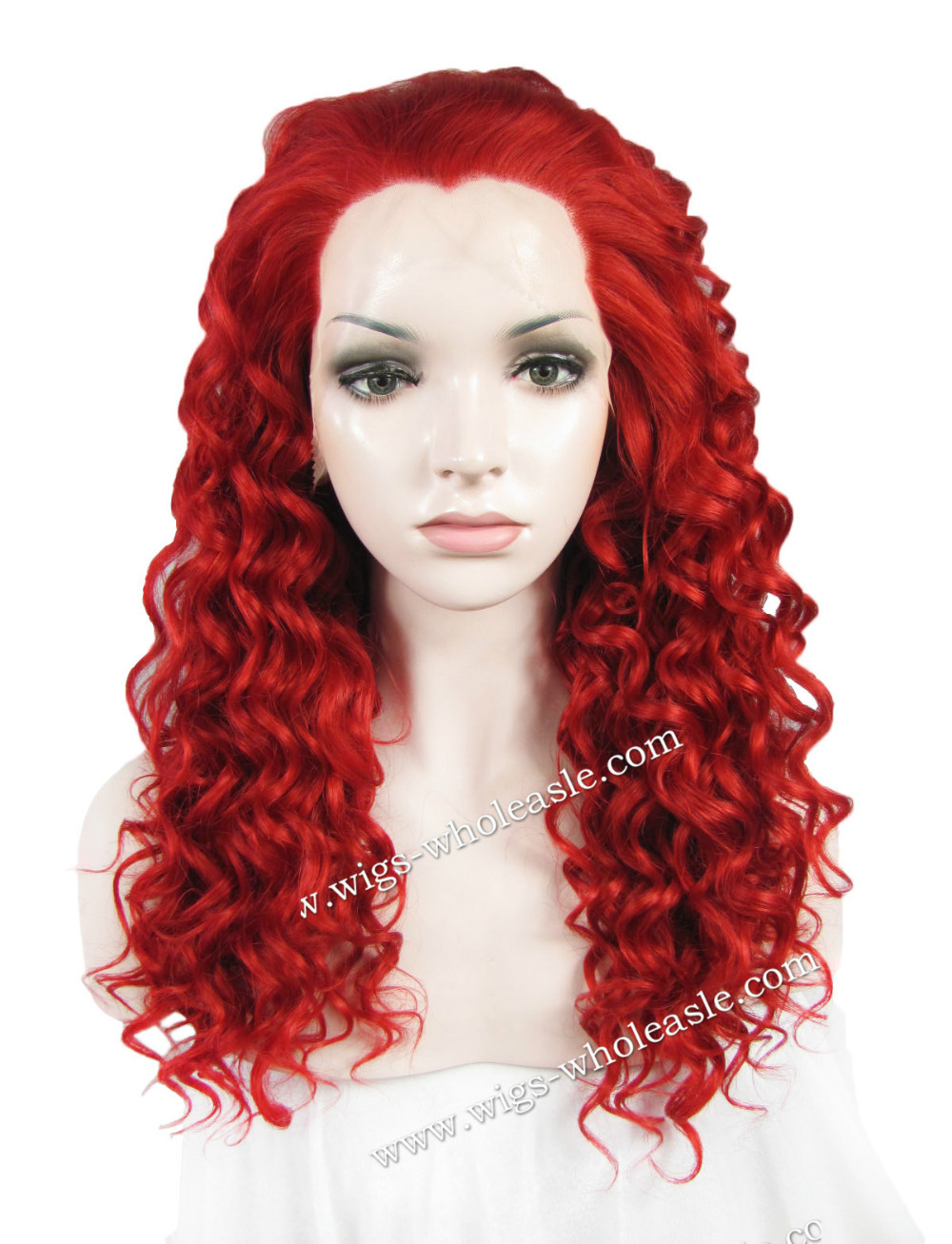 Get Quotations · Christmas Red Curly Cospaly Heat Resistant Hair Synthetic  Lace Front Wig d64d2f0c2117