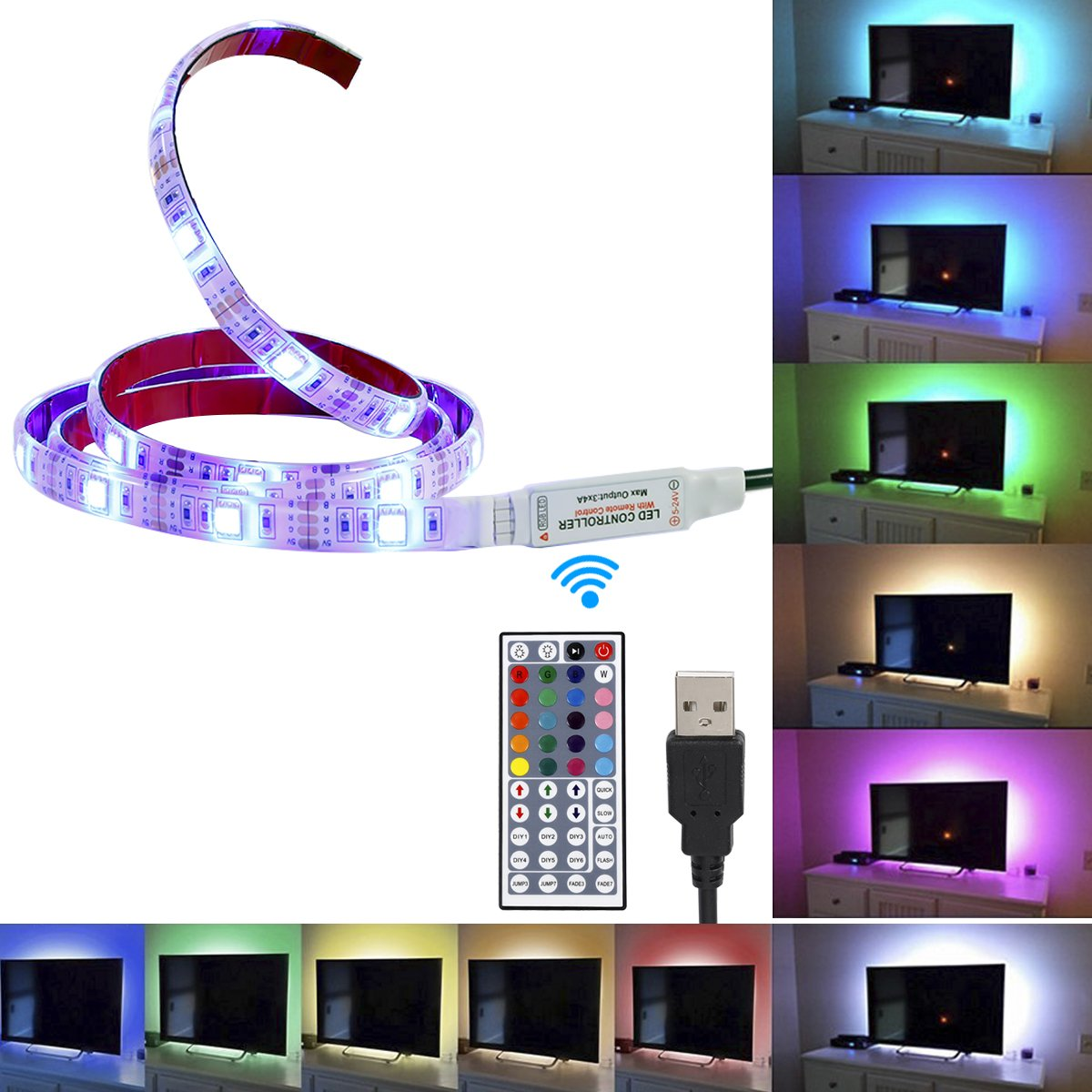 Topled Light USB LED Strip 3.28ft/1M Multicolor RGB LED Lighting System Kit Cuttable with 44Key Remote Controll for Flat Screen TV LCD, Desktop PC