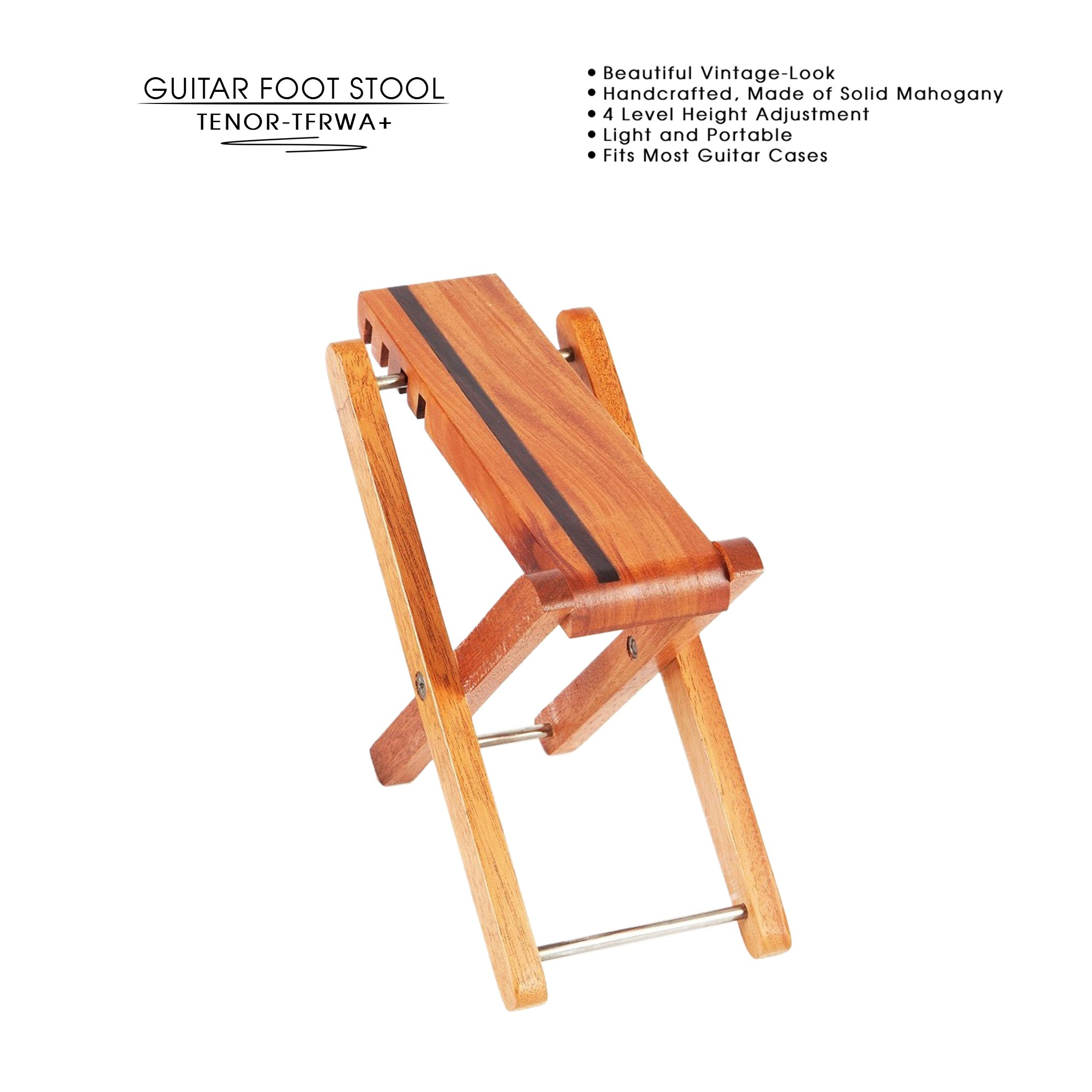 TENOR TFRWA+ The Most Beautiful Guitar Foot Stool in The Market! Wooden, Handcrafted, Professional, Solid Foot Rest, Footstool, Guitar Support. For Classical, Flamenco, Acoustic or Electric Players.
