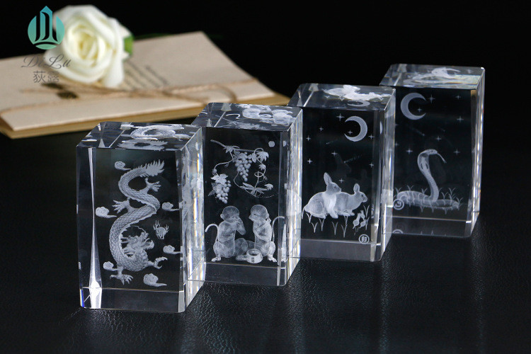 Supply blank or the finished product 3d laser engraved crystal glass cube