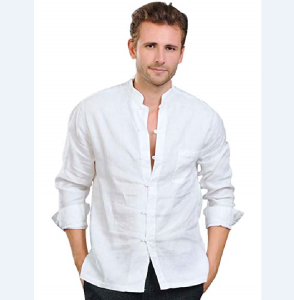 100% Linen Mens Mandarin Collar Roll-up Sleeves Casual Buttoned Shirt