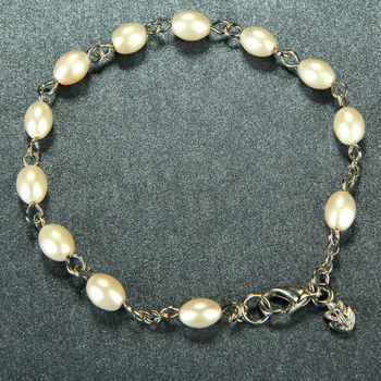 Wholesale fashion christian imitation pearl rosary chain bracelet