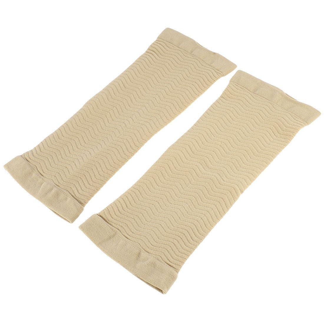 uxcell Pair Khaki Wave Texture Elastic Upper Arm Massage Shaper