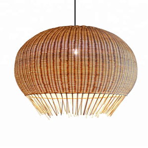 new large round ball rattan hanging ceiling lamp indoor living room decoration vintage bamboo pendant light for restaurant