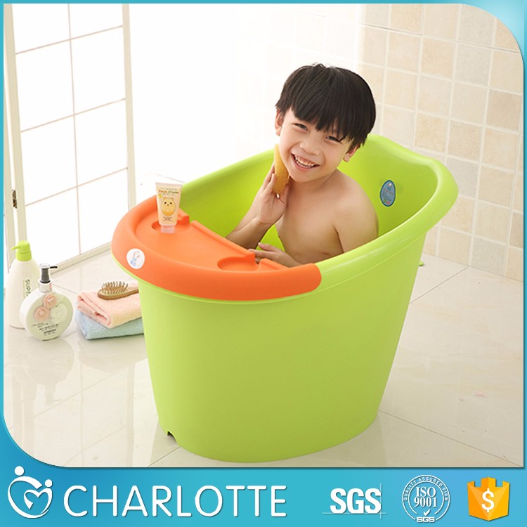 Big Plastic Pp White Kids Bath Bucket Baby Bathtub Cartoon Tub 0-10 ...