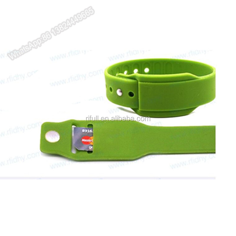 top quality silicone insert card wristband with your logo printed
