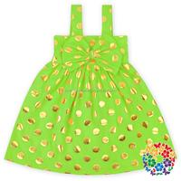 Girls Vintage Solid Color Gold Polka Dots Kids Dress 100% Cotton Kids Dress Up Costumes