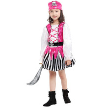 7 Sets/lot Free Shipping Kids Pirate Costumes Children Carnival Halloween Masquerade Party Fancy Dress Girls Cosplay Clothes