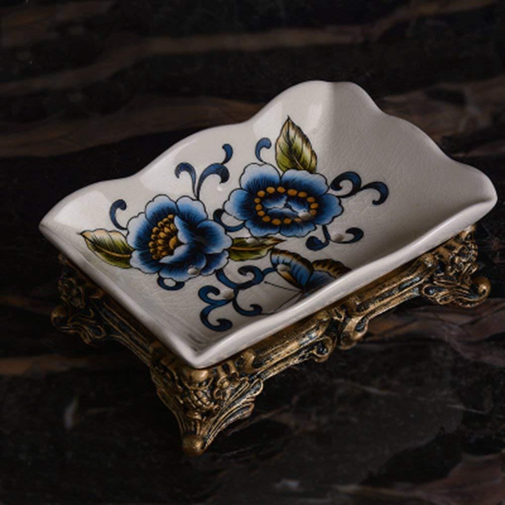 PsgWXL Soap Dishes European Retro Ceramic Soap Box Creative Home Soap Box High-grade Ice Cracked Porcelain Soap Soap Dish