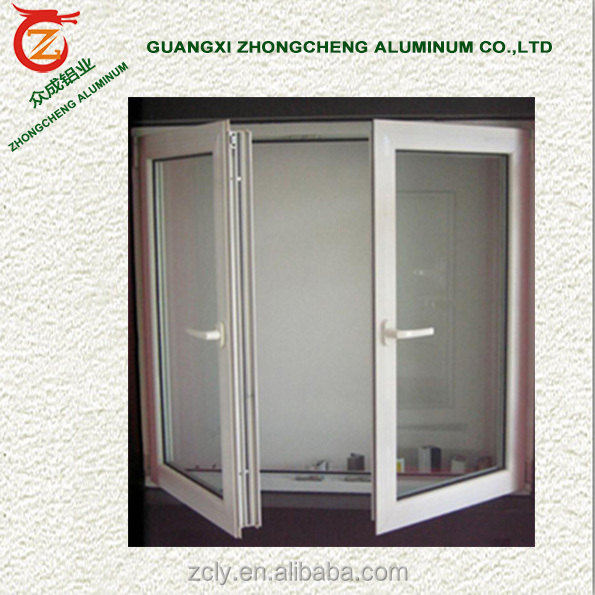 Aluminium profile frame window open inside casement window with roll mosquito net