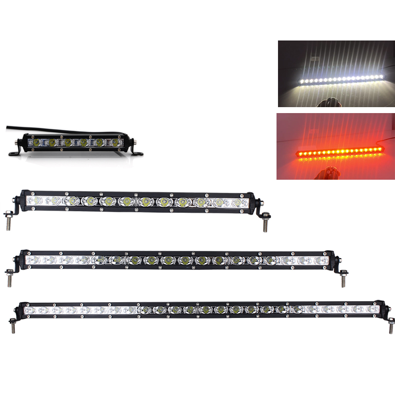 Amber White Color Changing LED Light Bar - 3W Epistar LEDs - Ultra Thin Housing - Remote Control - for Grille OffRoad Truck 4x4