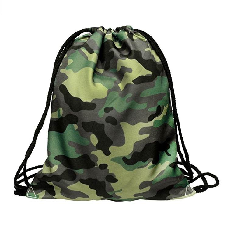 Polyester Unisex Camouflage 3D Printing Bags Drawstring Backpack