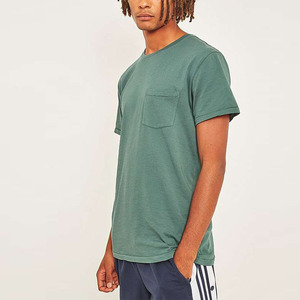 New products pigment dyed green front pocket custom t-shirt