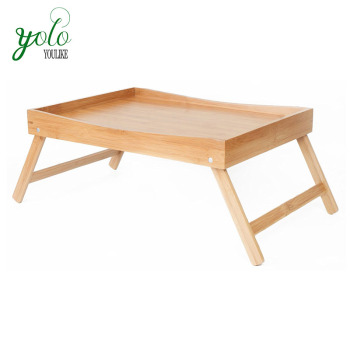 Adjule Folding Bamboo Breakfast Bed Table Serving Tray