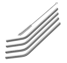 Stainless Steel Drinking Straws, Set of 4, Free Cleaning Brush Included