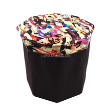 furniture fabric storage ottoman cube folding storage stool
