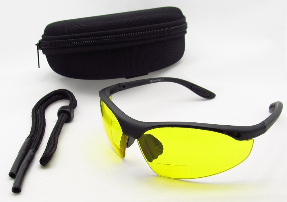 56c41adf1b1 ANSI Z87.1 Motorcycle Yellow Bifocal Safety Glasses 1.50 for Men and Women.  Half