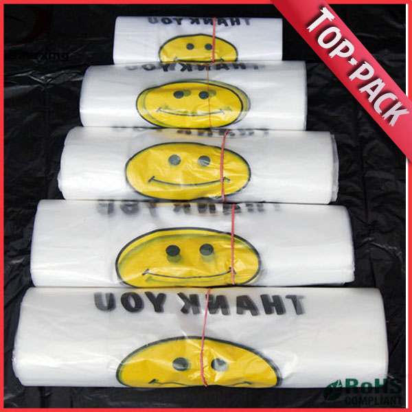 Cheap hdpe plastic grocery bags on roll t-shirt bag