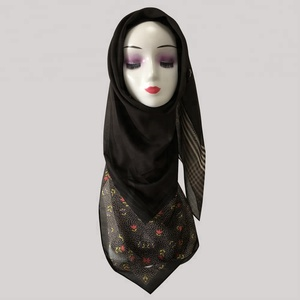 Howmay muslim hijab scarf digital print custom shawl for Malaysia women square cotton hijab voile