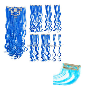 Hot sell Colored Party Highlights Clip on in Hair Extensions Multi-Colors Hair Streak Synthetic Hairpieces