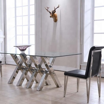 Dining Room Set Stainless Steel 6 Seater Glass Dining Table - Buy Glass  Dining Table Set,Stainless Steel Dining Table With Glass,6 Seater Glass  Dining ...