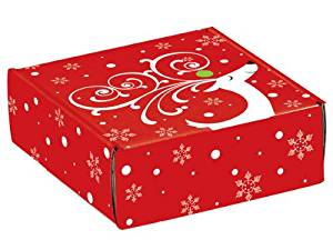 "Decorative Shipping Boxes - Dashing Reindeer Gourmet Shipping Boxes 6x6x2"" Auto Lock Boxes - (6 Per Pack) - WRAPS - 50DR"