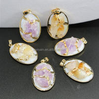 LS-D6055 Wholesale NEW amethyst pendant, yellow quartz pendant with shell on botton