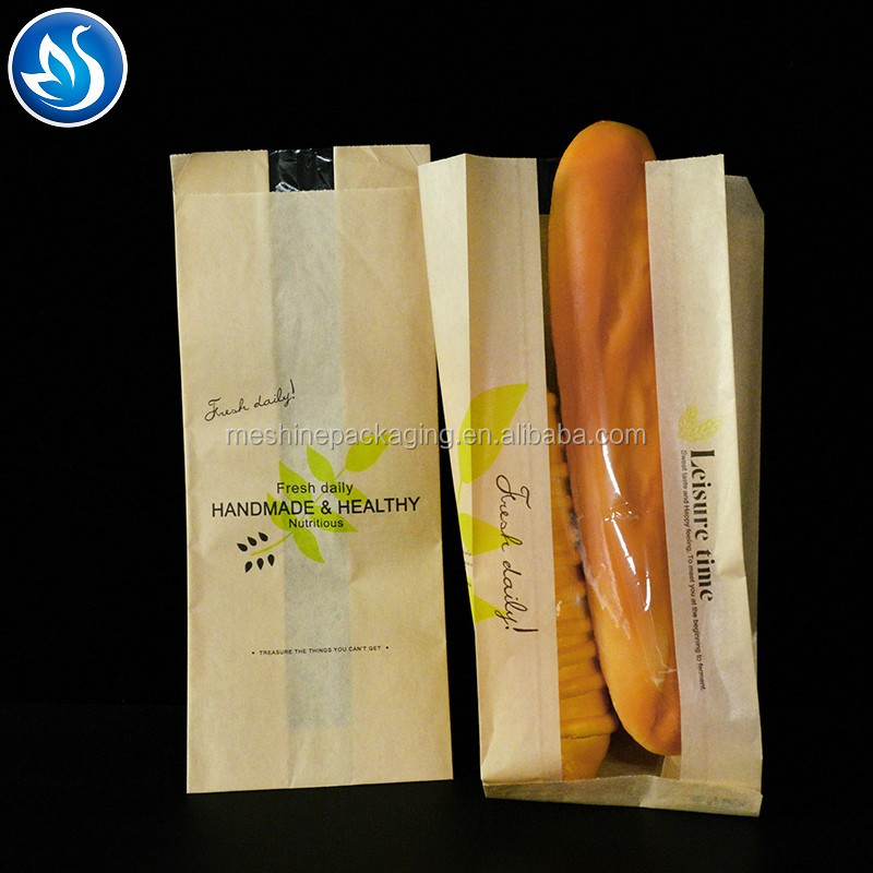 Food Grade Bread Paper Bag with Clear Window