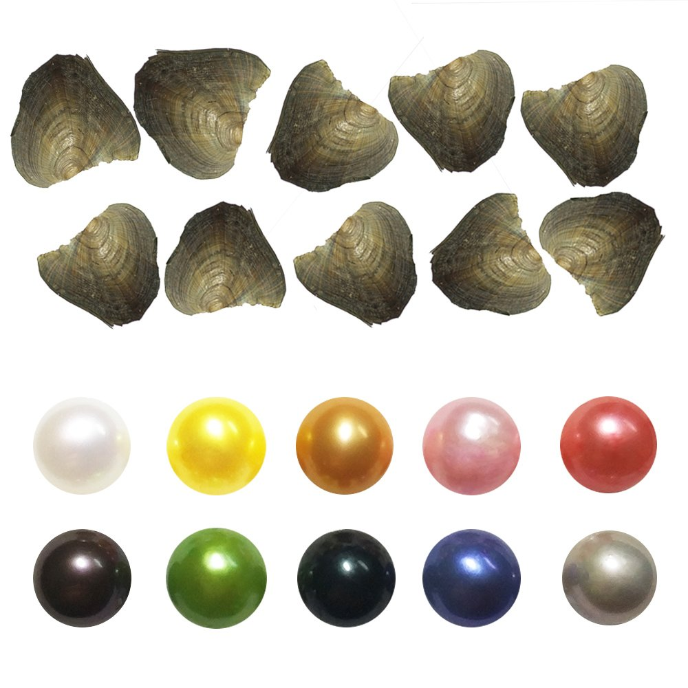 10Pcs Freshwater Cultured Love Wish Pearl Oyster with Round Pearl Inside Birthday Gifts 10 Colors (7-8mm)