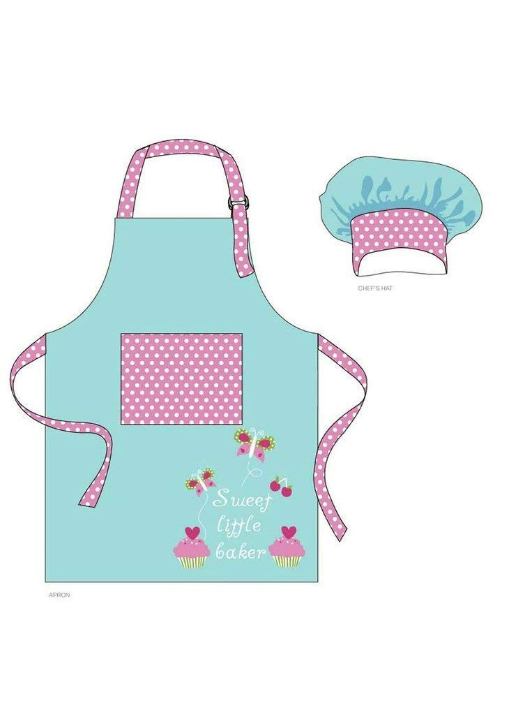 78bc70afb0c12 Chef Set for Kids - Blue Aqua Apron and Polka Dot Pink Chef Hat with Sweet