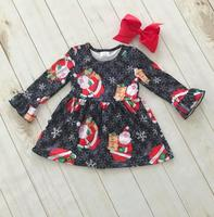 smocked children clothing wholesale girls christmas boutique clothing santa printed clothing for kids