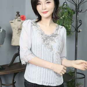 Latest designs loose casual lady tops women summer blouse