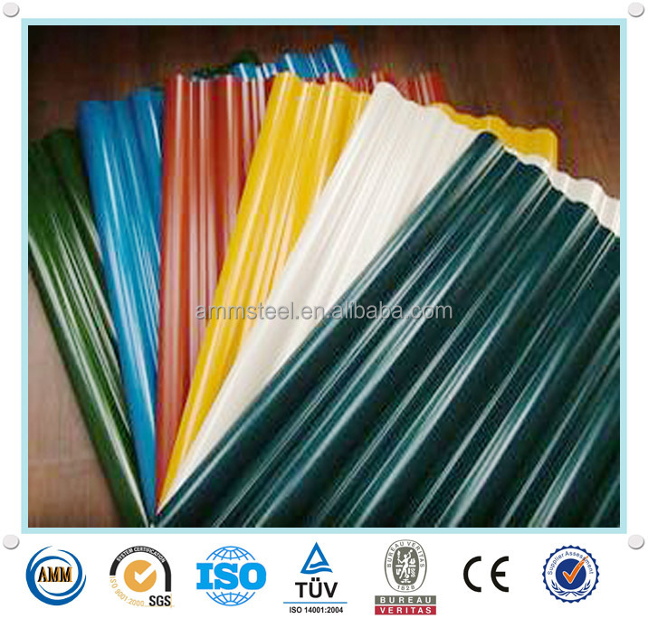 Top/back painting 15-20/8-10 color coated corrugated sheet