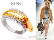 R127 Free Shipping Zinc Alloy Material Silver and Gold Plated Unique Fullfill CZ Diamond Ring Girls