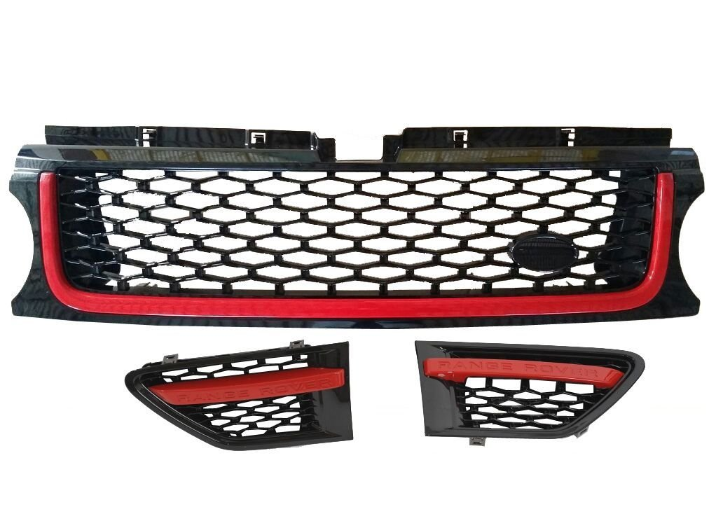 RC Trading (B) Grill & Side Vents Black Red Autobiography Style fits Range Rover Sport 2010,2011,2012,2013
