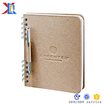 Custom Wooden Cover Embossed Logo ECO Friendly Spiral Notebook With Pen Holder