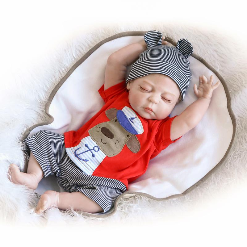 NPK Reborn Doll Full Body Silicone Vinyl 22 inch 55cm Sleeping Boy Doll Soft Lifelike Dolls