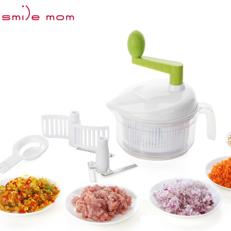 Smile mom 4 in 1 Multi Cozinha Mixing & Separator Egg - Salada Spinner - Manual Vegetable Chopper - Processador de Alimentos
