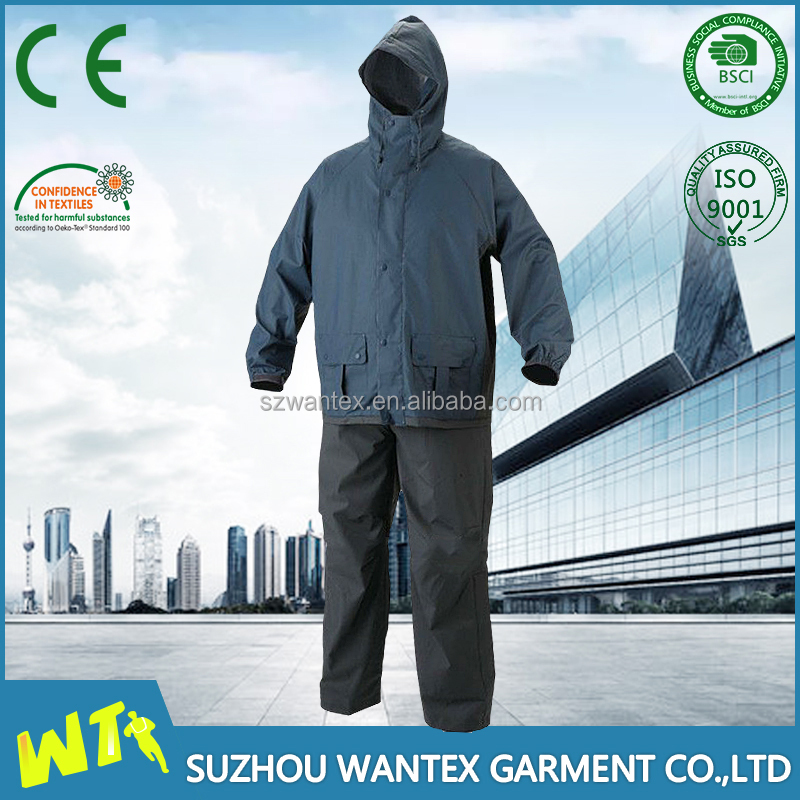 wholesale navy pu raincoat safety waterproof raincoat suits military waterproof rain suits